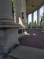 Crumbling limestone on Hall of Fame