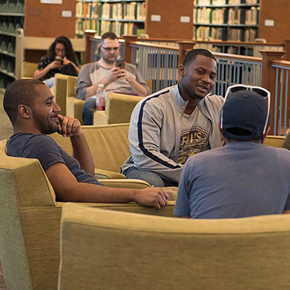 Students hanging out in the library